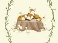 DeWitt_foxes on tree stump