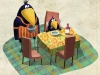 Kawamura Crow with mom at table